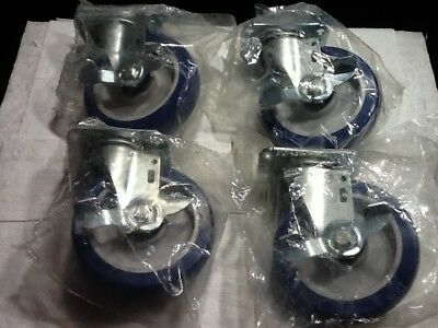 """Swivel Plate Caster,Poly,5 in.,W/ Brake 220 lb., 5UX71B, """"Sold as Set of 4"""""""