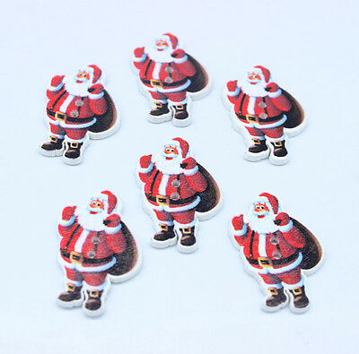 40pc Father Christmas & Gift Wooden Buttons Fit Sewing Scrapbook  2.4CM*3.5CM S1