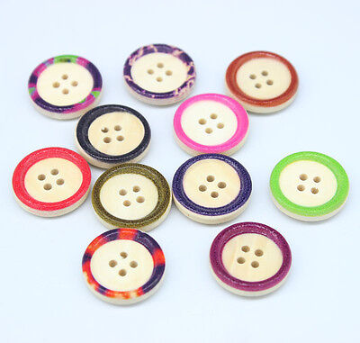 40 Mixed Wooden Buttons Circular Concave Pattern Fit Sewing Scrapbooking 20MM T1