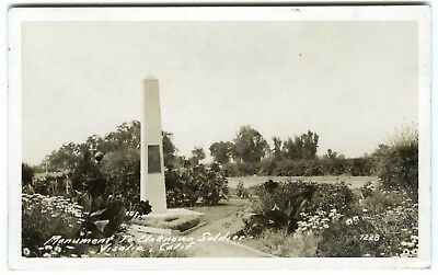 """1930s VISALIA CA """"MONUMENT to UNKNOWN SOLDIER"""" TULARE~REAL PHOTO RPPC POSTCARD"""