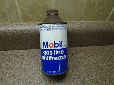 Vintage Mobil Gas Line Anti-freeze Oil Cone Top Can Advertising Pegasus~ Full