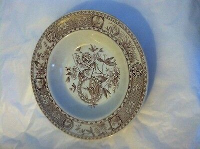 "Aesthetic Movement Brown Transferware 9.5 in rim soup ""Sitka"" T. Hughes Burslem"