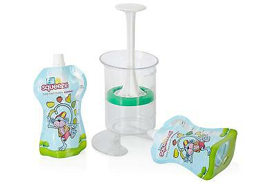 Fill n Squeeze Pouch Filling System Babies Toddlers Reusable Feeding Pouches New