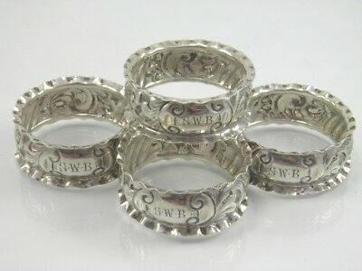 Antique .925 sterling silver set of 4 napkin serviette rings Birmingham 1906