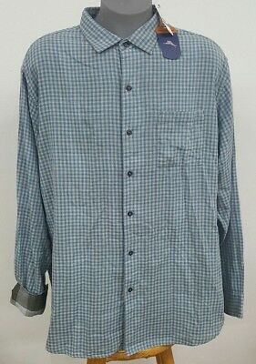 Tommy Bahama Dual Lux Gingham Shirt in Pebble Grey Cotton MSRP $150 NWT 2XB