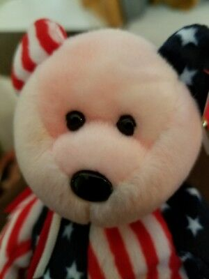 MINT 1999 TY Beanie Baby SPANGLE PINK FACE BEAR VERY RARE Collectors Tag ERRORS