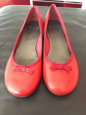 Ladies Clarks Shoes Red Ballerina Pumps Flats  Size 6