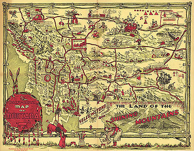 1938 Pictorial Map of Montana Wall Art Poster Print Decor Vintage History