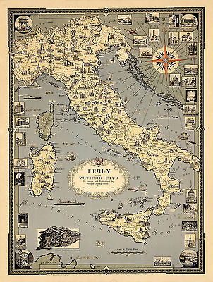 Midcentury Pictorial Map Italy w. Vatican City Historical Sites Wall Art Poster