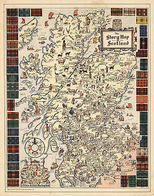 1935 Pictorial Story Map of Scotland Vignettes Portraits Scottish Poster Vintage