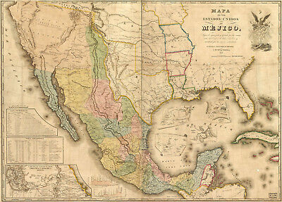 1846 Mexico Mejico Usa Historic Wall Map Pre-War Home School Office Poster Art