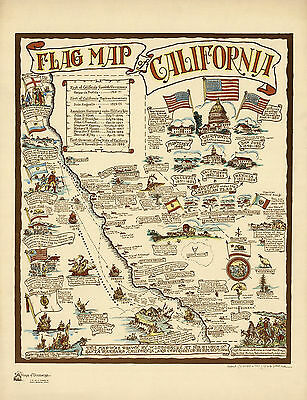 1936 Pictorial Flag Map of California Vintage History Wall Art Poster Decor