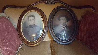 Lot of 2 Antique Oval Tiger Frame Convex Bubble Glass,100+ years, Man and Woman