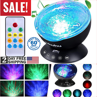 Remote Control Ocean Wave Projector 12LED 7 Color Modes Night Light Music Player