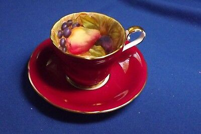 OLD Aynsley Fruit Orchard Gold Deep Red Fruit Demitase Cup & Saucer Sign N Brunt