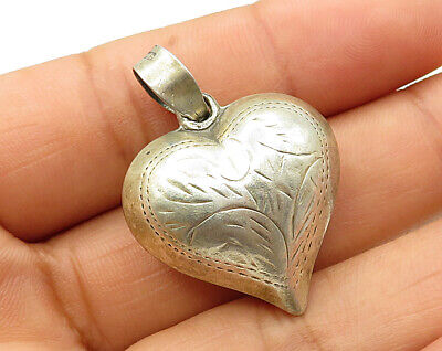 925 Silver - Vintage Puffy Hand Chased Filigree Love Heart Pendant - P2825