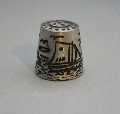 Vintage Pewter Thimble light House Sail Boat Collectable