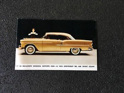 Vintage GM Postcard The 50 Millionth GM Car a 1955 Bel Air Sport Coupe