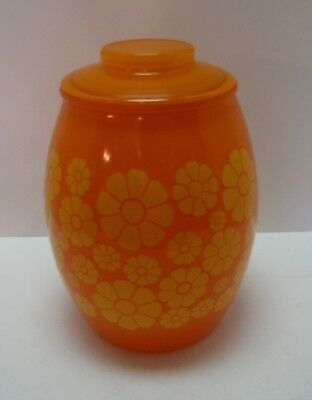 RETRO 1960's BARTLETT COLLINS GAY FAD ORANGE YELLOW FLOWERS COOKIE JAR with LID