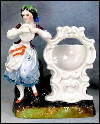 Antique Ceramic Staffordshire Girl Holding Tambourine Watch Holder Figurine