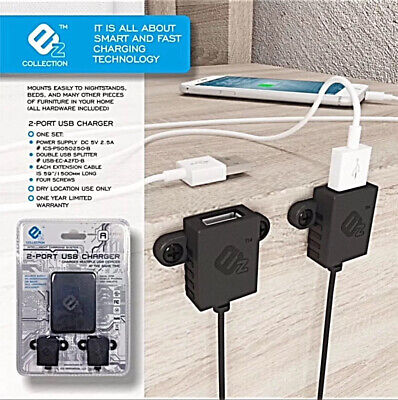 Ez Charger | Dual Usb Fast & Smart Furniture Add On Charger | Qualcomm 3.0 Chip