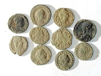 10 ANCIENT ROMAN COINS AE3 - Uncleaned and As Found! - Unique Lot 21143