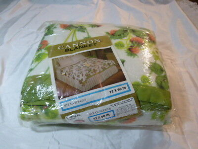 Cannon Blanket Vintage Nylon Satin Trim Floral New Old Stock 72 x 90 Made in USA