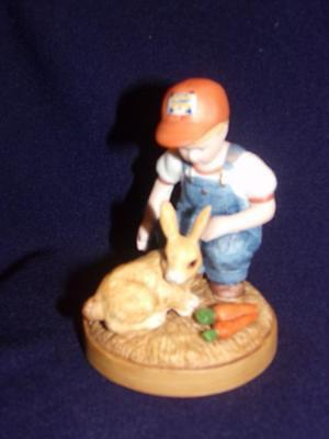 Country Store Little Farmers BOY WITH BUNNY FIGURINE- 1983
