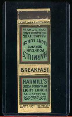 EARLY SAFETY FIRST HARMILL SODA 5th Ave NYC history MATCHBOOK ADVERTISING COVER