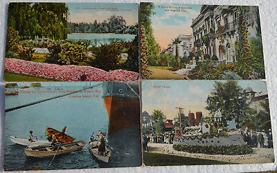 Lot Of 4 Antique Southern California Postcards