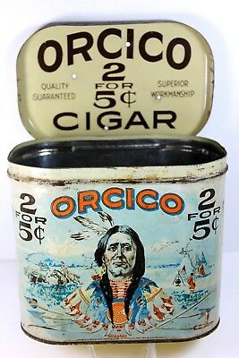 RARE ORCICO INDIAN 1919 TOBACCO TIN 2 for 5 Cents Cigars Bethesda, Ohio
