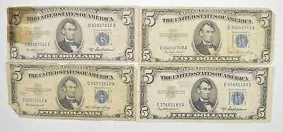 Lot of 4 $5 SILVER Certificate Blue Seal US Notes Currency Collection 1953 *948