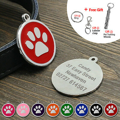 Round Paw Print Dog Pet ID Tags Disc Single Side Dog Cat Tag Engraved Free