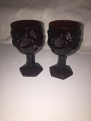 2 Avon Ruby Red Cape Cod Cordial Goblets