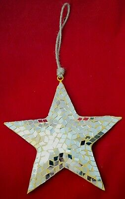 "Star Silver Mirror Christmas Large 8"" Wall Hanging Decor Ornament Midwest Gift"
