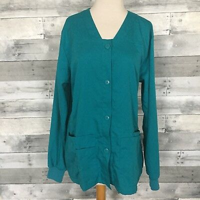 Grey's Anatomy by Barco Scrubs Jacket Women's Size Large Teal Button Down