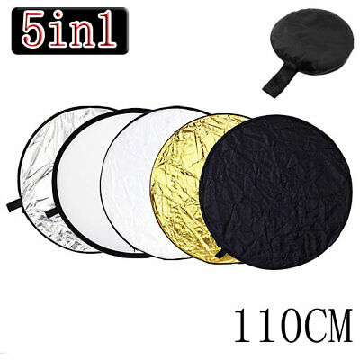"""5 in 1 Pro Collapsible 110cm 43"""" Light Flash Studio Reflector Round Diffuser USA"""