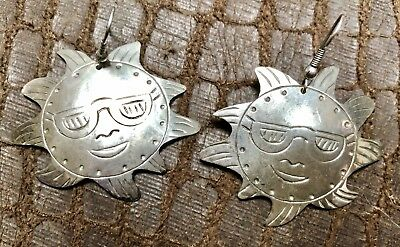 Designer Taxco Mexico, Hand Hammered Heavy Sterling Silver (Pierced) Earrings Lg