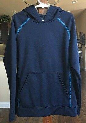 Columbia Sportswear Child's Pullover Hoodie Navy Bright Blue Accents Size 8 EUC