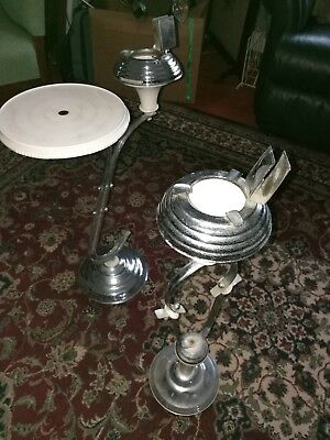 Two chrome and bakelite smokers stands