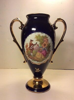 FRENCH LIMOGES Castel Large Vase Cobalt Blue Porcelain w/ 22k Gilt