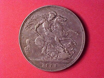 Great Britain Silver Crown 1898 Lxii Ch Vf Victoria George & The Dragon Nice