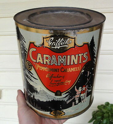 RARE & AMAZING BIG 6lb GRIFFITHS CARAMINTS TIN in E.C.  Made by Horsfall Melb.
