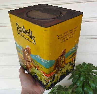LOVELY STRONG YELLOW EMBOSSED BUSHELLS 'Tea of Flavor' 6lb TIN in E.C.   LABEL.