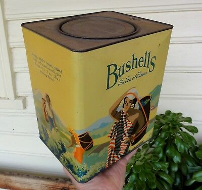 LOVELY LEMON TONES EMBOSSED BUSHELLS 'Tea of Flavor' 6lb TIN in E.C. ALL ROUND.