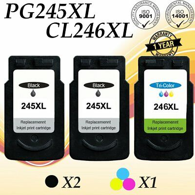 3 PACK PG245 CL246 XL Black Color Ink Set for Canon PIXMA MG2555 MX490 Printers