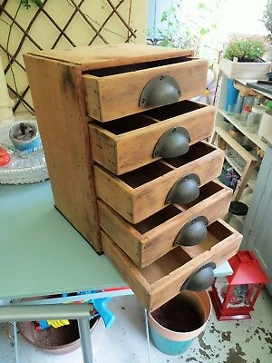 Vintage industrial cabinet, wooden tool box collectors chest drawers watchmaker