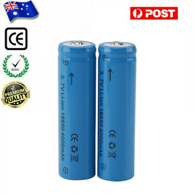 2Pcs 18650 3.7V 4000mAh Lithium Li-ion Rechargeable Battery For Headlamp Torch