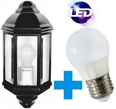 LED Lantern Half Outside Lamp 5W Light Black Garden Wall Mounted Daylight IP44