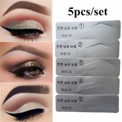 Pro Eyebrow Shaper Template Stereo Stencils Shaping Brow Grooming Makeup Tool- 5